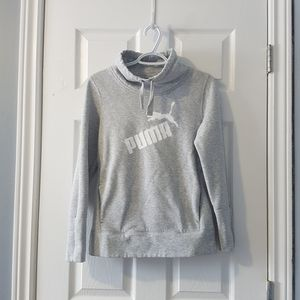 Grey white Puma pullover mock cowl neck hoodie S